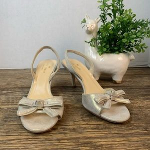 Kate Spade Gold Knotted Bow Slingback Heels 6M
